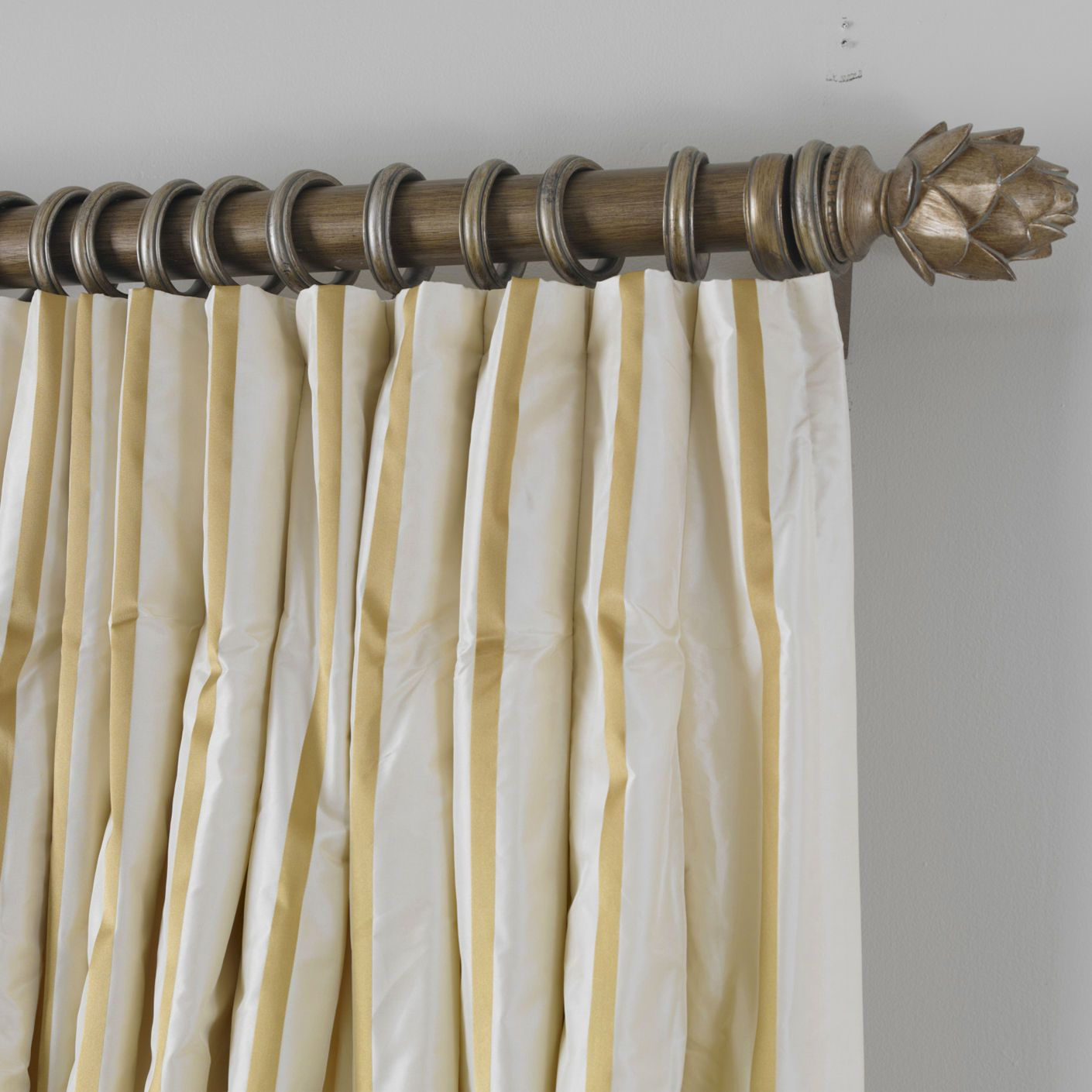 Ivory and gold taffeta stripe inverted pleat panel ethan allen us