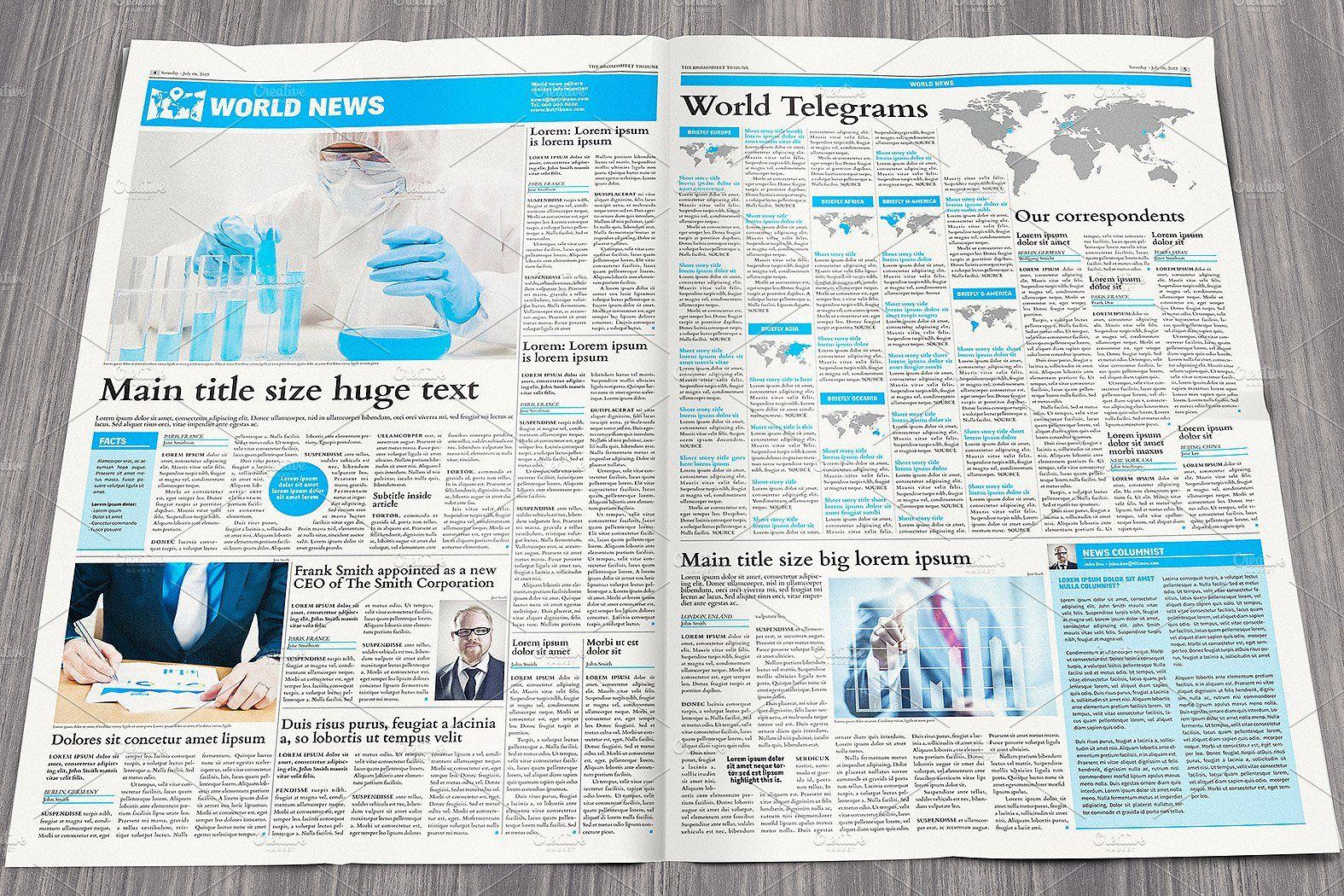 Broadsheet Newspaper Template Newspaper Template Templates
