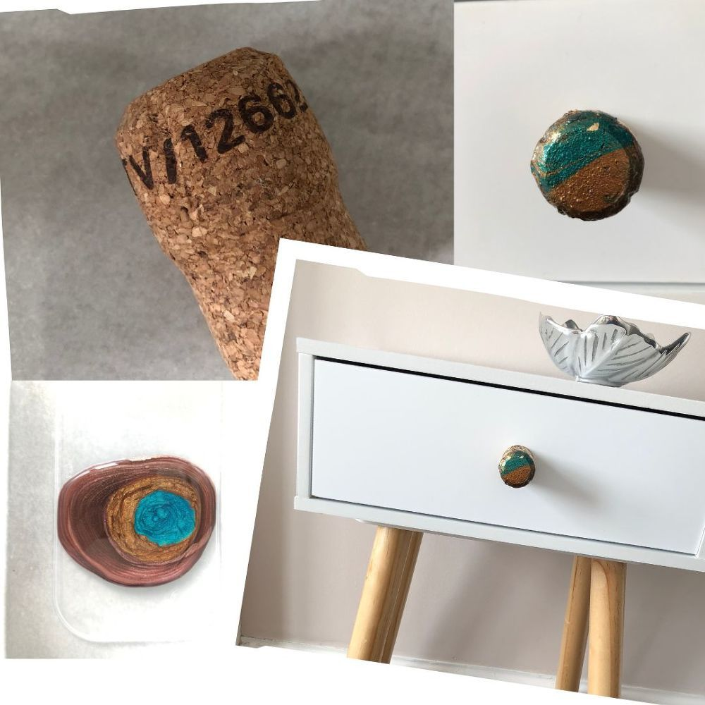 How To Make Drawer Handles Out Of Corks Distressing Painted Wood Cork Diy Drawer Handles