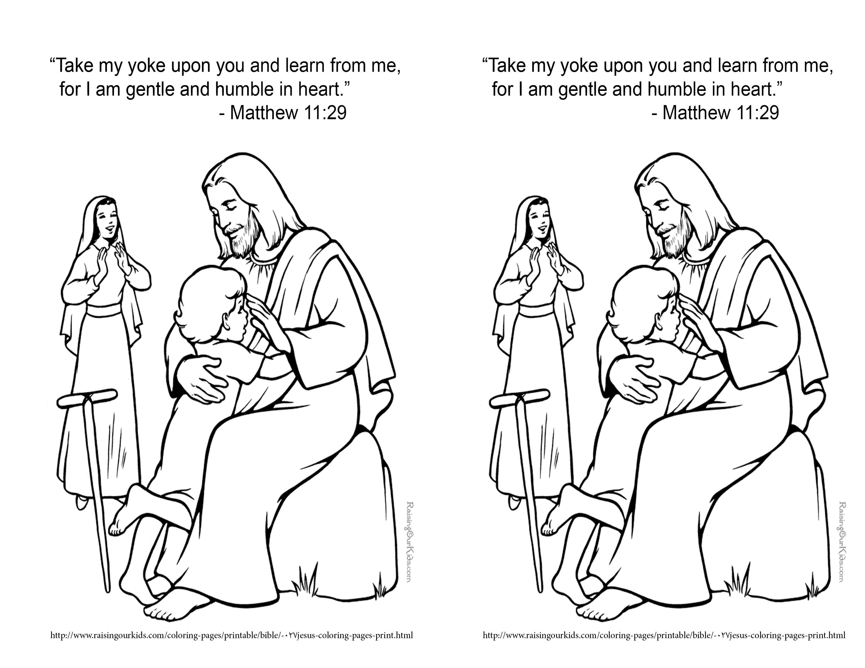 Feb 17 2014 Matthew 11 29 Coloring Page Bible Coloring Bible