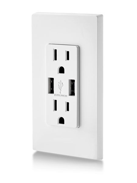 Two dedicated USB ports mean no bulky chargers hogging outlets. And unlike other options, the Leviton USB outlet is rated for 3.6 amps—nearly twice the rating of other brands, so you can charge your tablet or phone (or both) in a couple of hours.   - PopularMechanics.com