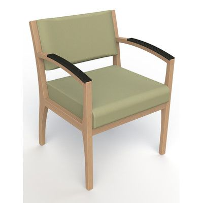 Kutzke Furniture Itasca Wall Guard Back Leg Guest Chair Arm Options: Padded, Seat Color: Avant Sage, Finish: Fawn