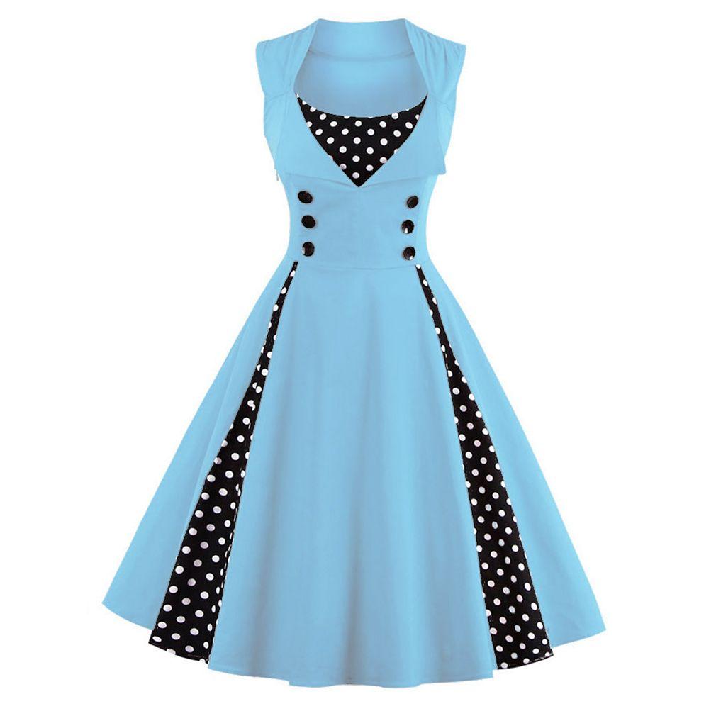 Women 5XL New 50s 60s Retro Vintage Dress Polka Dot Patchwork ...