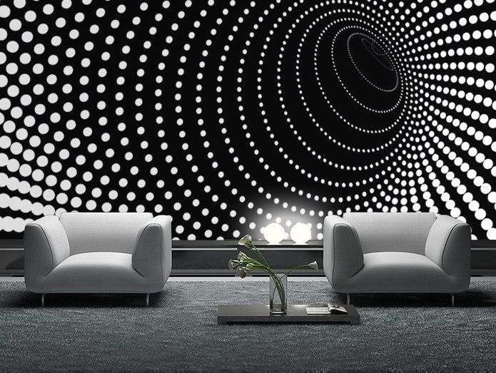 Black and white wallpaper mural for bedroom living room or for Black and white room wallpaper