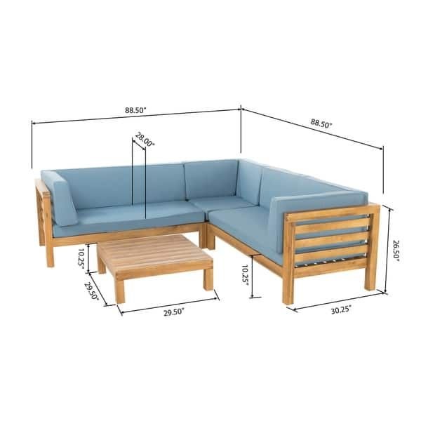 Photo of Oana Outdoor Sectional Sofa Set with Coffee Table by Christopher Knight Home