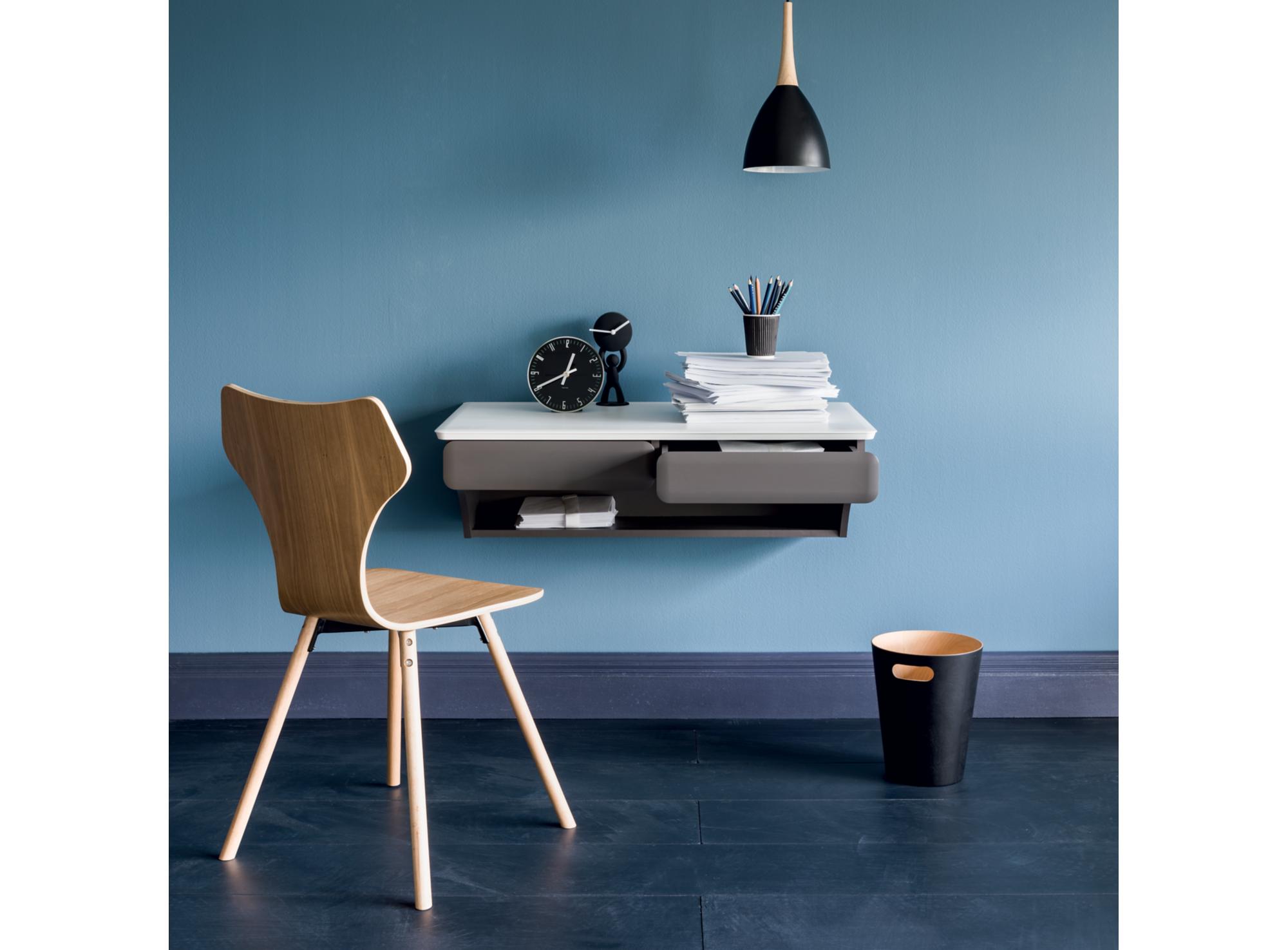 Bureau a suspendre blanc mat gris meuble fly mobilier