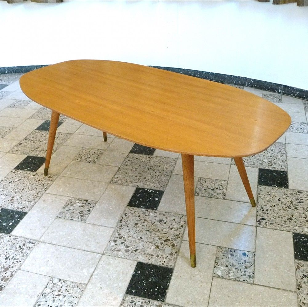 Superieur German Birch Wood Coffee Table With Brass Feet, 1950s