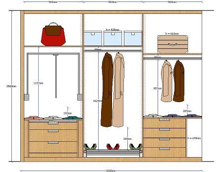 Planos de planta y alzado de armarios totalmente acotados for Programa para disenar muebles de madera