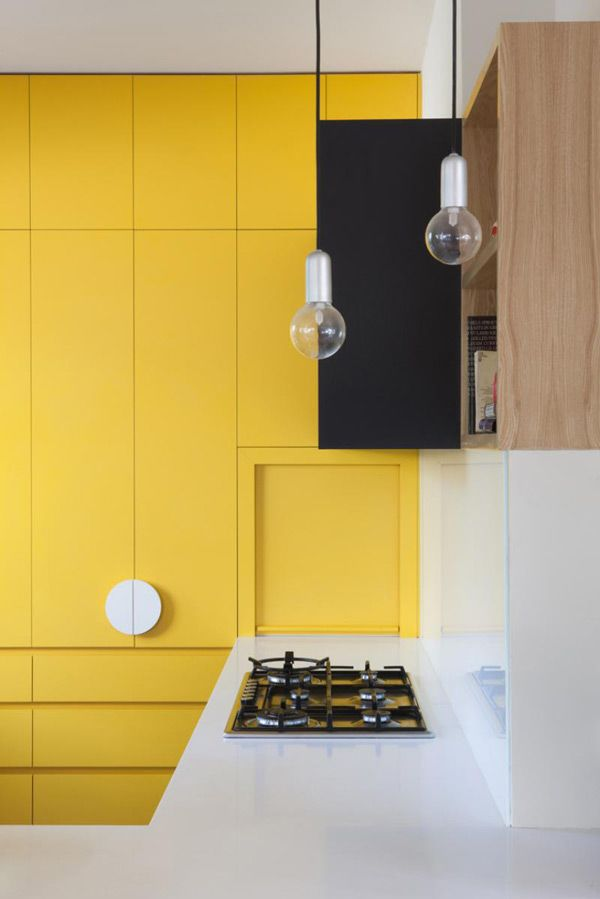 Yellow Kitchen Chest of Drawers built into the Wall. Modern and ...