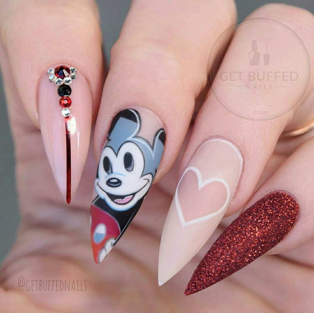 Cute Disney nail art don't like the shape though https://noahxnw - Pin By Hair And Beauty Catalog On Beautiful Things In 2018