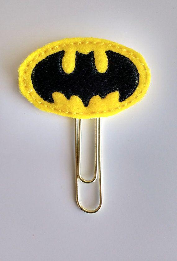Bat Emblem Planner Felt Paper Clip | Bookmark | Clip | Planner Accessories | Feltie | Planner Clip | Paper Holder | Super Hero