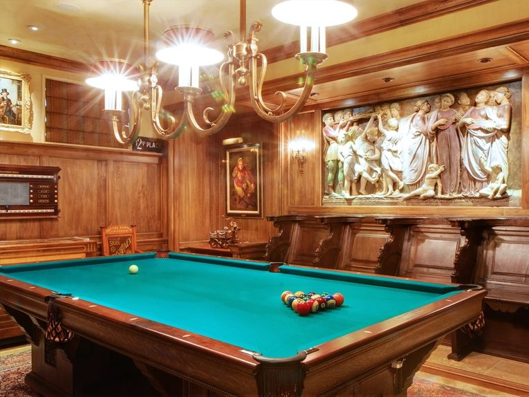 Traditional Pool Table Room With Beautiful Relief Sculpture By Soucie Horner Annette Soucie Horner Pool Table Room Traditional Living Room Relief Sculpture