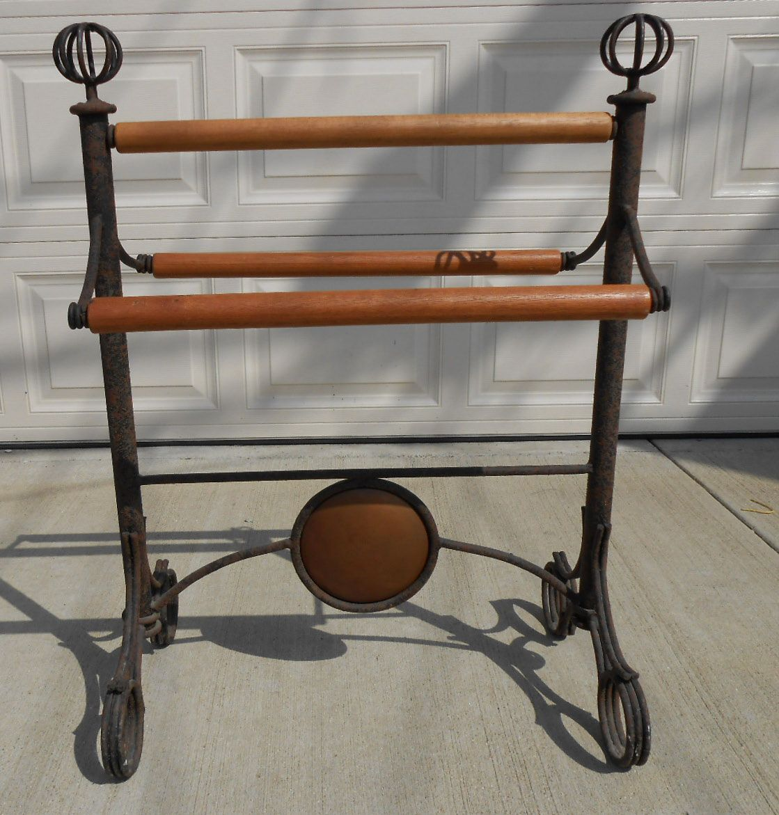 """Antique wrought iron towel rack is 35 ¼"""" tall and 28x16 ¼"""" for $125 ..."""