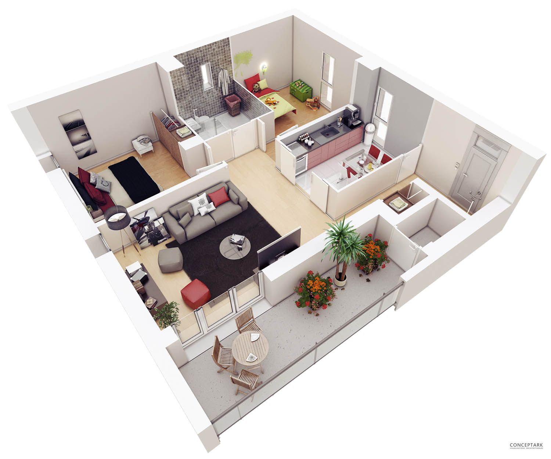Plans Coupes 3d Tarrare 01 Jpg 1500 1248 Modern House Floor Plans How To Plan