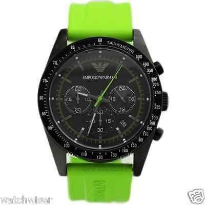 48d9ec68 AR6115 Emporio Armani Sportivo Men Watch Green Rubber Chronograph ...