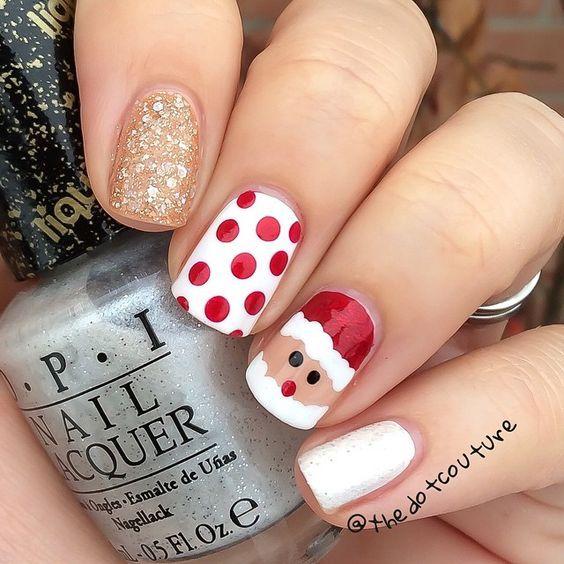 How To Try The Santa and Polka Dots Christmas Nail Art Design ...