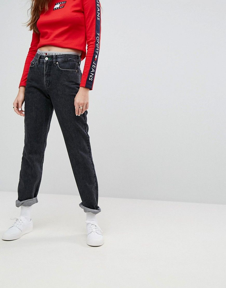 1cb5c8b4 Tommy Jeans 90s Capsule Mom Jean - Black | Products | Jeans, Tommy ...