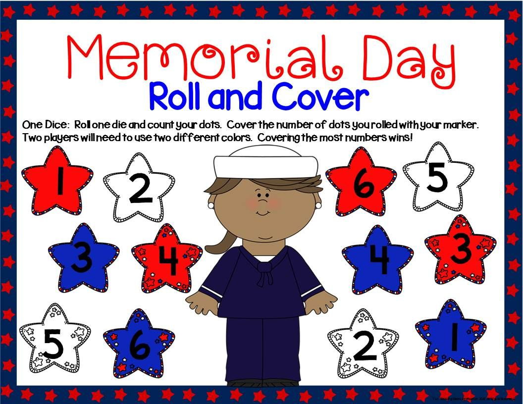 Memorial Day Math Center Dice Games