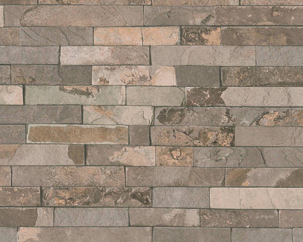 Rw1104 Stone wallpaper, Wood stone, Brick effect wallpaper