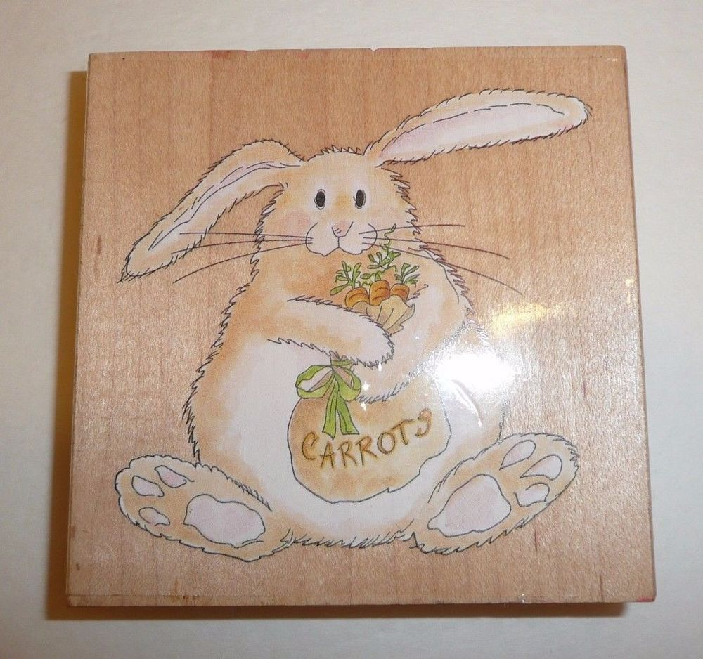 16a39a35e5 Butterbean with Carrots Wooden Wood Rubber Stamp Rabbit Bunny Cute Character
