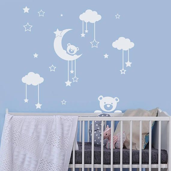 Wall Decal Teddy Bear Cloud Stickers Moon And Star Decal