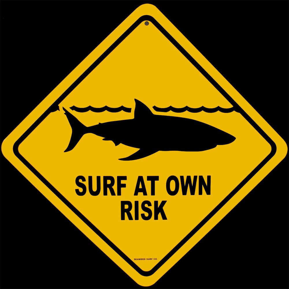 SHARK WARNING SIGN surf at own risk SURFBOARD WALL ART | Surfboards ...