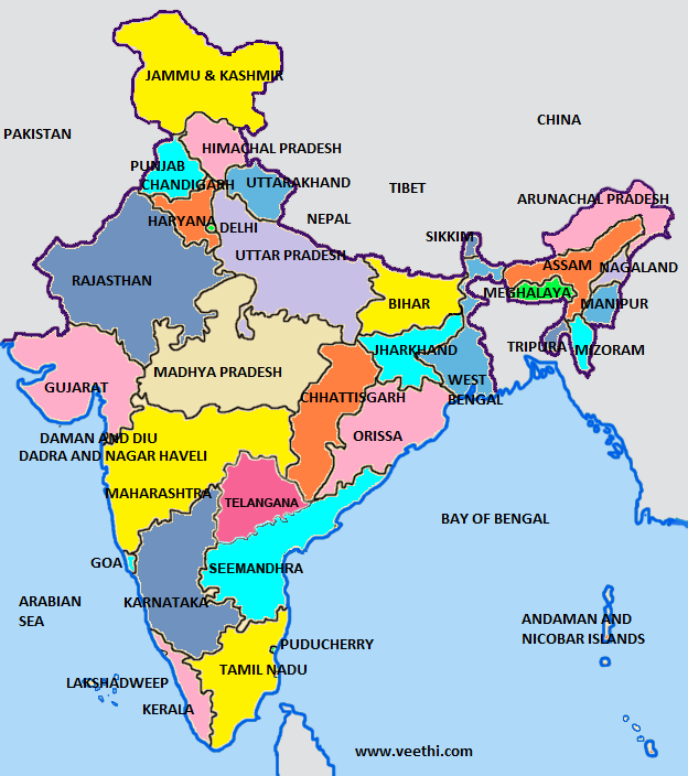VI Importance of States in India India map, Union