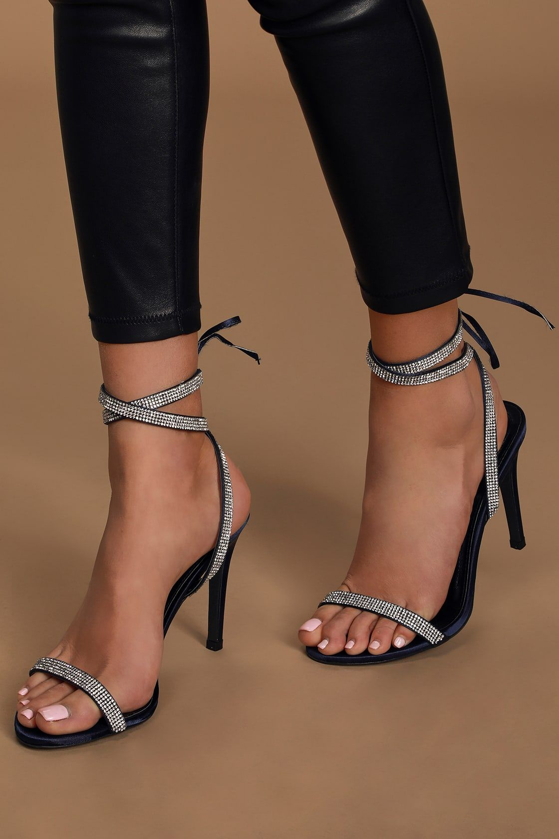 Gwyneth Navy Blue Satin Rhinestone Lace