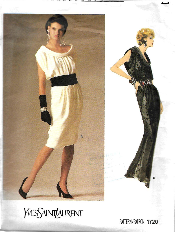 3b74395e433 Vogue 1720 Paris Original Yves Saint laurent Bias Roll Collar Dress Pattern,  Size 10 by DawnsDesignBoutique on Etsy