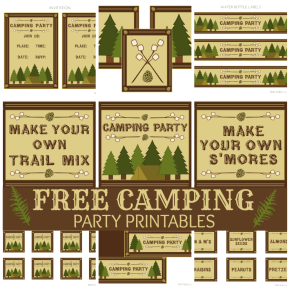 photograph about Free Printable Camping Signs referred to as Cost-free Tenting Bash Printables (with Do-it-yourself Smores and Path