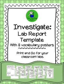 Lab Report Template With  Investigation Vocabulary Posters This