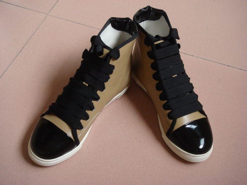 Lanvin women ladies high-top khaki sneakers