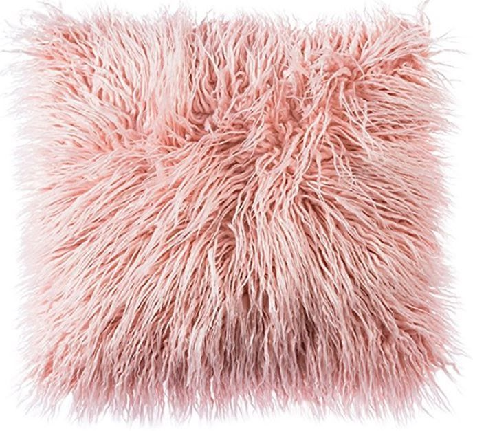 Blush Pink Fluffy Cushion With Images Pink Throw Pillows Throw Pillows Faux Fur Throw Pillow