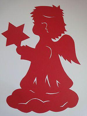 Fensterbilder Tonkarton Filigran Engel Mit Stern Rot Weihnachtsbasteln Schablonen Weihnachten Scherenschnitt Weihnachten