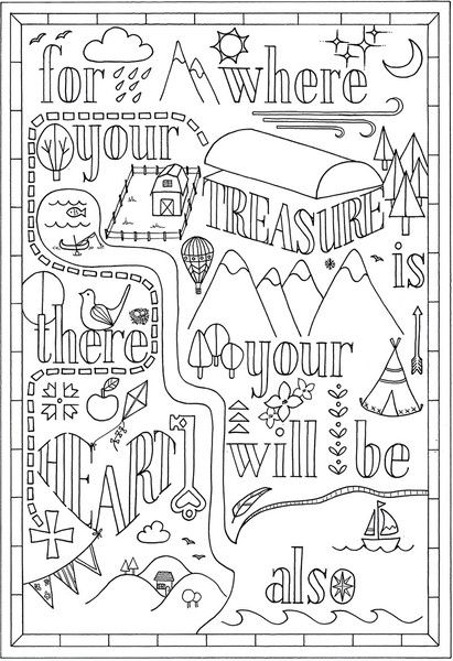 Colouring In Bible Verse Matthew 6 21 Instant Download Bible