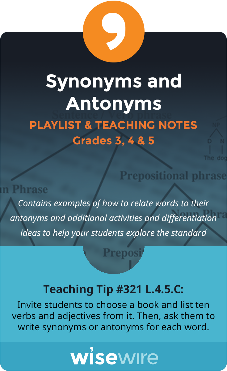 Synonyms and Antonyms - Playlist and Teaching Notes | Group work ...