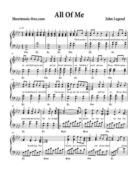 All Of Me Sheet Music John Legend Mit Bildern Klaviernoten