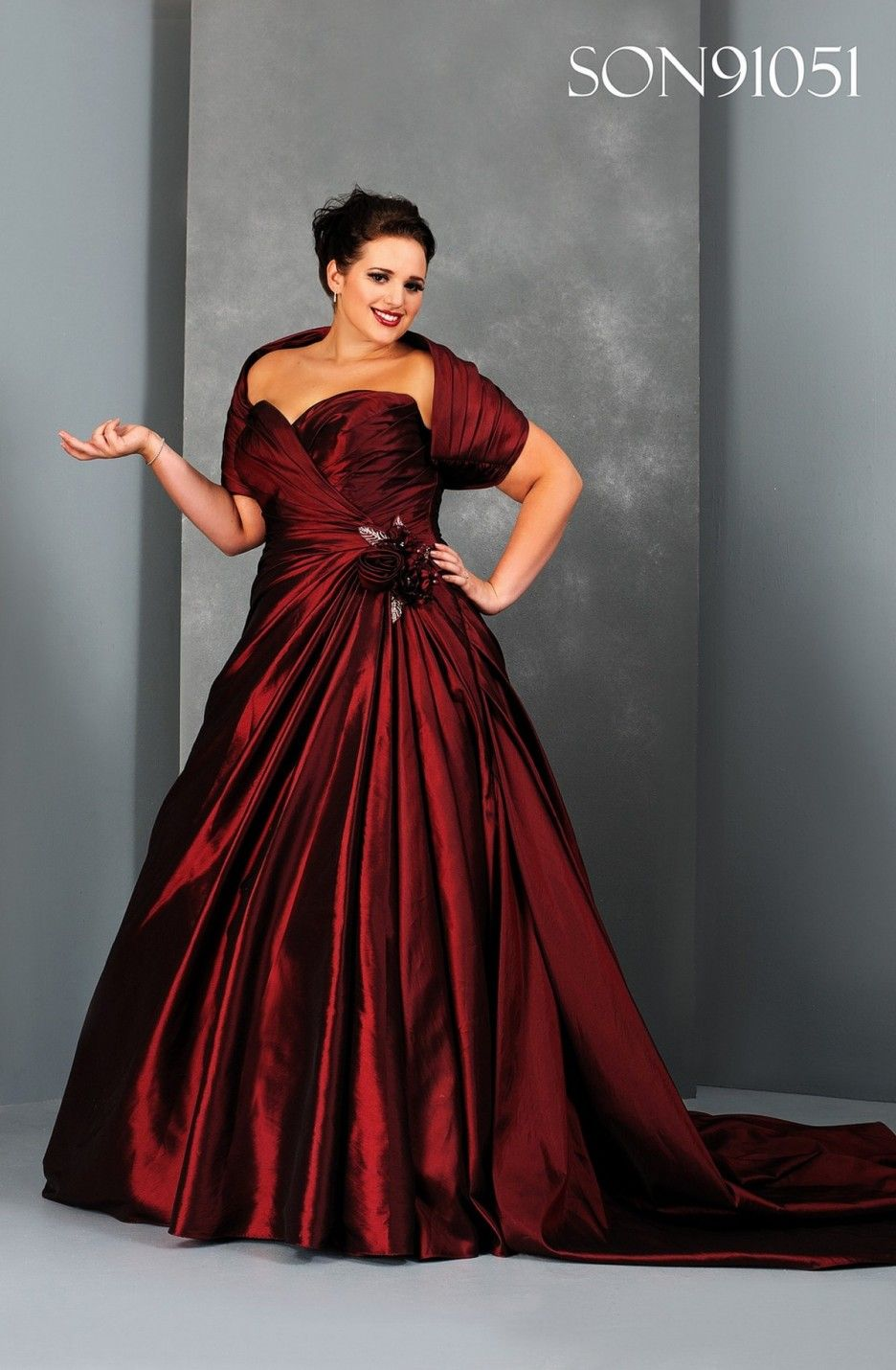 Plus Size Red Wedding Dresses | Above is a metallic plus size red ...