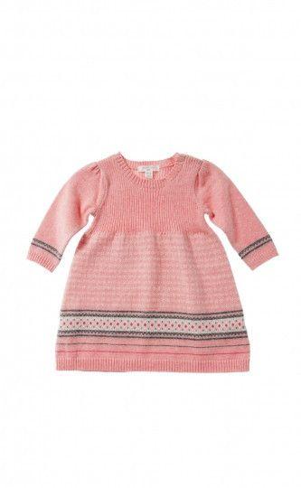Pure Baby girls Fair isle knitted dress country girls fairisle ...