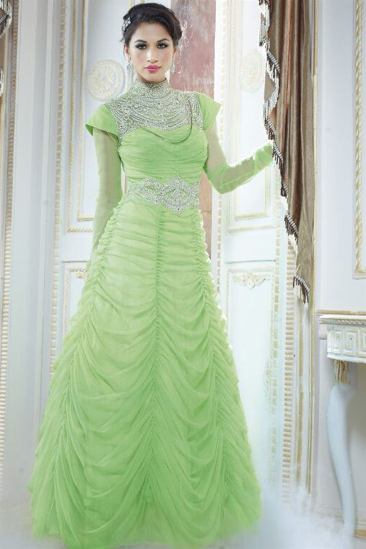 e5b8731c9 Endearing Green Color Evening Party Wear Gown Designer Gowns, Designer Wear,  Designer Evening Dresses