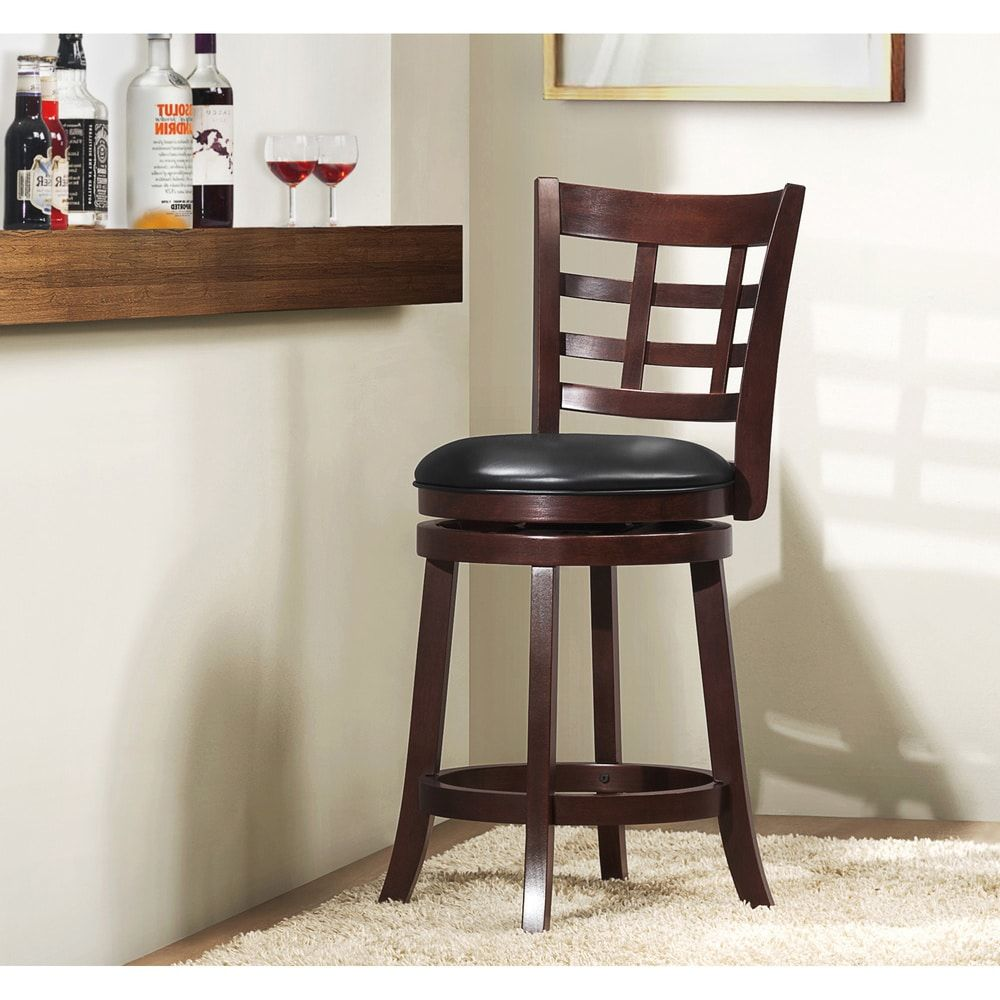 Verona Cherry Swivel 24 Inch High Back Counter Height Stool By