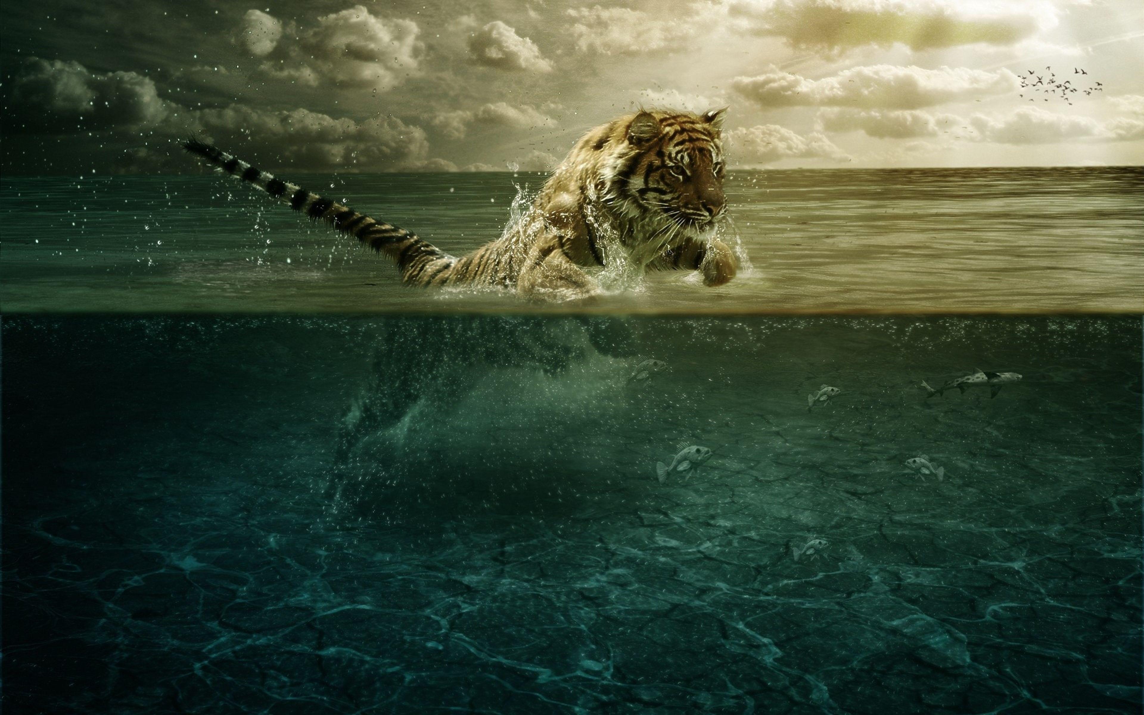 3840x2400 Wallpaper tiger, jump, sea, underwater, hunting
