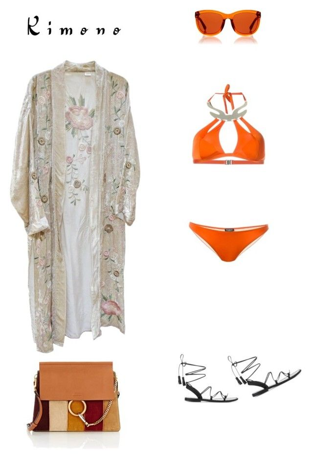 """Kimono"" by zeynepkartal ❤ liked on Polyvore featuring MOEVA, The Row, Chloé and kimonos"