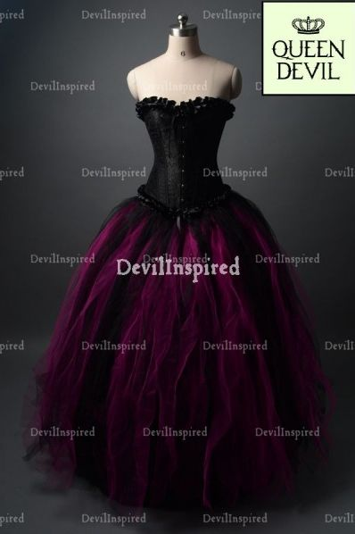 Black and Fuchsia Gothic Corset Ball Gown Prom Dress why so ...
