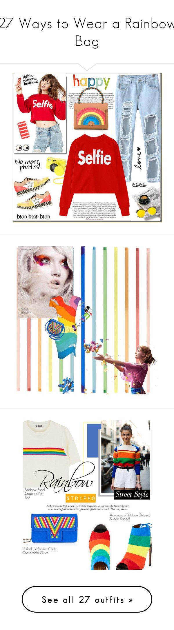 """27 Ways to Wear a Rainbow Bag"" by polyvore-editorial ❤ liked on Polyvore featuring waystowear, rainbowbag, Chicnova Fashion, Submarine, STELLA McCARTNEY, Anya Hindmarch, J.Crew, Revo, Mary Katrantzou and Thierry Mugler"