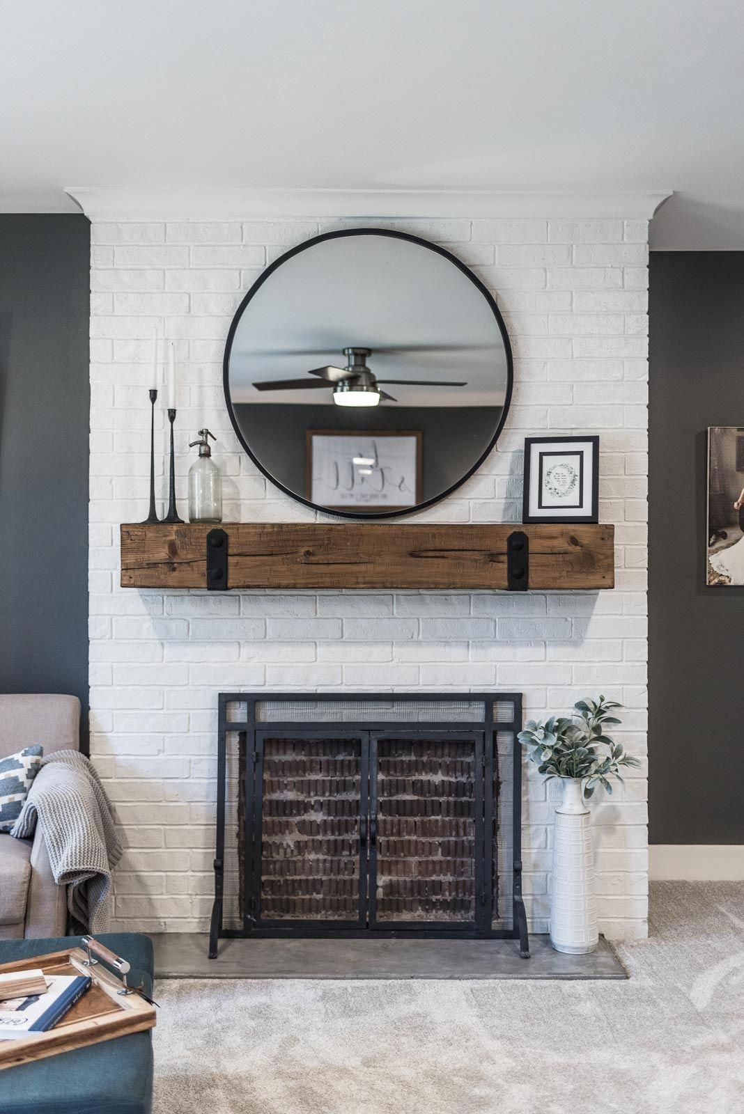 Master Bedroom And Bathroom Addition In A Modern Farmhouse Home Sherwin Williams Grizzle Gra White Brick Fireplace Brick Wall Bedroom Brick Fireplace Makeover