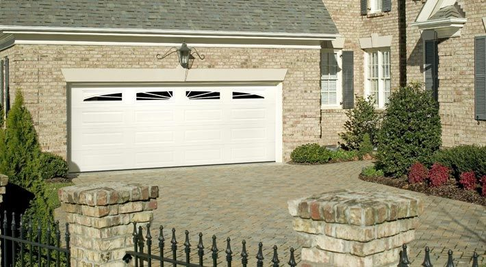 Traditional Long Panel With Full Sunray Windows In White Garage Door Styles Garage Doors Garage Door Design
