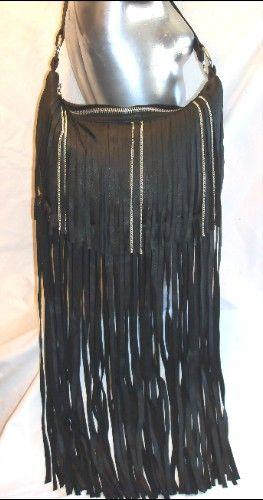 Designer Leather Fringe Purse Biker Bag X Long With Chains Handmade By Debbie