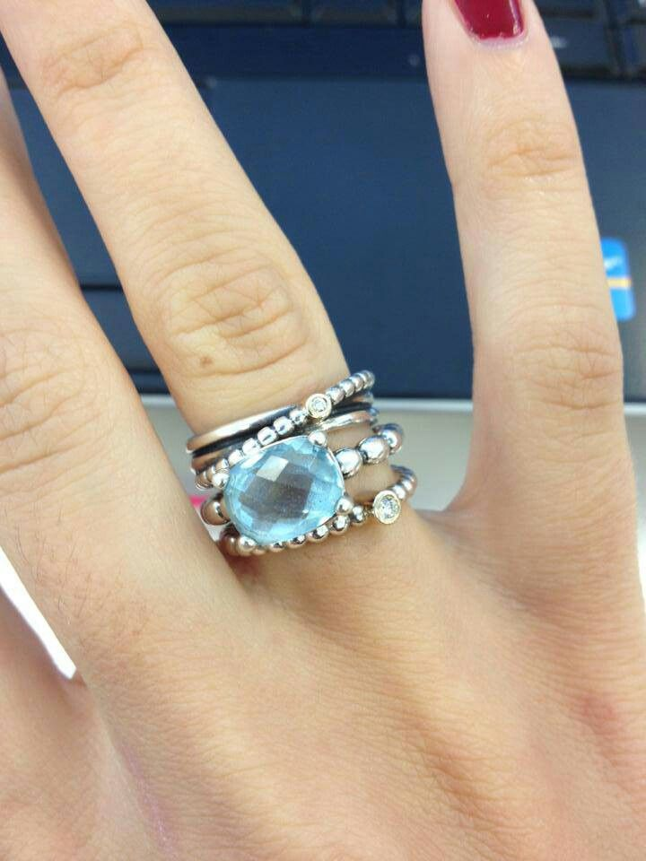 8676e9402 Pandora rings - pretty topaz, diamonds and a smidgen of gold ...