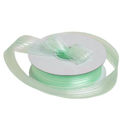 """25 Yard 7/8"""" DIY Mint Green Organza Ribbon With Satin Stripes For Craft Dress Wedding /  A pure pleasurable sight to behold; a merry, trendy union of fancy satin stripes and sheer shimmering organza! What could be more fascinating and enchanting then this gorgeous ribbon that beautifully blends the soft, lustrous charm of high quality Satin with shiny sheerness of pretty organza. Our lovely satin striped organza ribbons are crafted from high quality 100% woven nylon with silky soft satin…"""